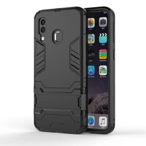 Shockproof PC + TPU Case for Galaxy A40, with Holder(Black)