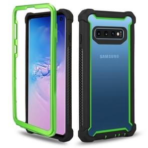 Four-corner Shockproof All-inclusive Transparent Space Case for Galaxy S10e (Black+green)