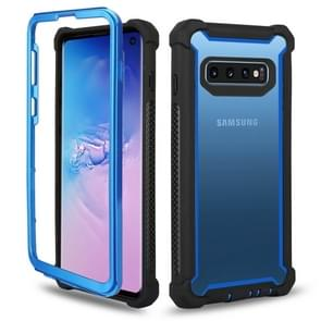 Four-corner Shockproof All-inclusive Transparent Space Case for Galaxy S10e (Black Blue)