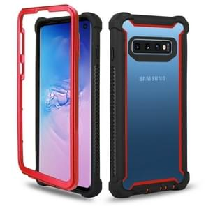 Four-corner Shockproof All-inclusive Transparent Space Case for Galaxy S10e (Black Red)