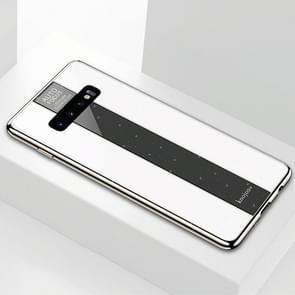 Electroplated Mirror Glass Case for Galaxy S10+(White)