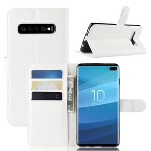Litchi Texture Horizontal Flip Leather Case for Galaxy S10 5G, with Wallet & Holder & Card Slots (White)