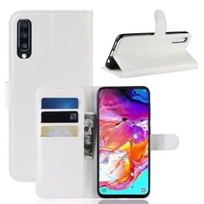 Litchi Texture Horizontal Flip Leather Case for Galaxy A70, with Wallet & Holder & Card Slots (White)