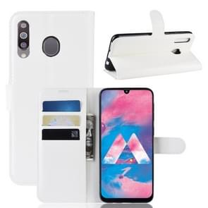 Litchi Texture Horizontal Flip Leather Case for Galaxy M30, with Wallet & Holder & Card Slots (White)