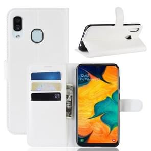 Litchi Texture Horizontal Flip Leather Case for Galaxy A20 & A30, with Wallet & Holder & Card Slots (White)