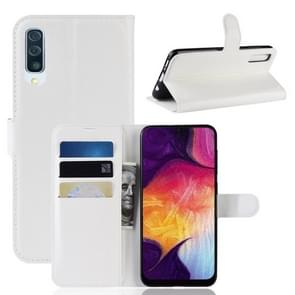 Litchi Texture Horizontal Flip Leather Case for Galaxy A50, with Wallet & Holder & Card Slots (White)