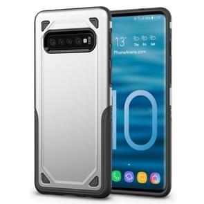 Schokbestendig robuuste Armor beschermende case voor Galaxy S10 PLUS (zilver)