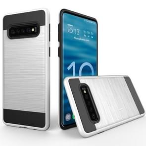 Brushed Texture PC + TPU Protective Case for Galaxy S10+ (White)