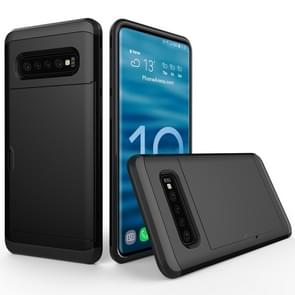 Shockproof Rugged Armor Protective Case for Galaxy S10+, with Card Slot (Black)
