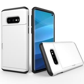 Schokbestendig robuuste Armor beschermende case voor Galaxy S10e  met kaartsleuf (wit)