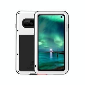 LOVE MEI Powerful Dustproof Shockproof Splashproof Metal + Silicone Combination Case for Galaxy S10 (White)