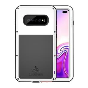 LOVE MEI Powerful Dustproof Shockproof Splashproof Metal + Silicone Combination Case for Galaxy S10+ (White)