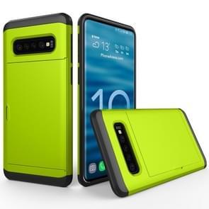 Schokbestendig robuuste Armor beschermende case voor Galaxy S10  met kaartsleuf (groen)