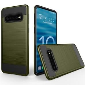 Brushed Texture PC + TPU Protective Case for Galaxy S10 (Army Green)