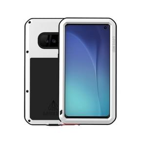 LOVE MEI Powerful Dustproof Shockproof Splashproof Metal + Silicone Combination Case for Galaxy S10e (White)