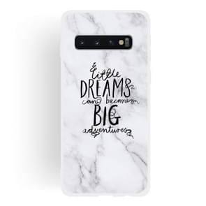 Dream Text Matte Semi-transparent TPU Marble Phone Case for Galaxy S10  Plus