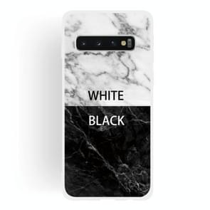 Black and White Text Matte Semi-transparent TPU Marble Mobile Phone Case for Galaxy S10+