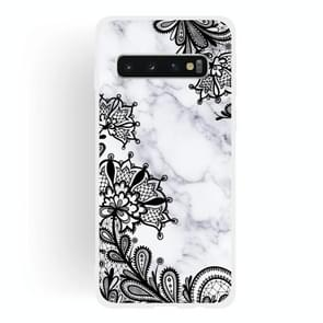Lace Flower  Matte Semi-transparent TPU Marble Mobile Phone Case for Galaxy S10+