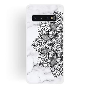 Half Flower Frosted Matte Semi-transparent TPU Marble Phone Case for Galaxy S10+
