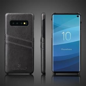 Fierre Shann Retro olie Wax textuur PU lederen Case voor Galaxy S10 E  met Card Slots (zwart)