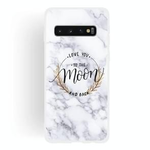 Moon Text Semi-transparent TPU Marble Phone Case for Galaxy S10+