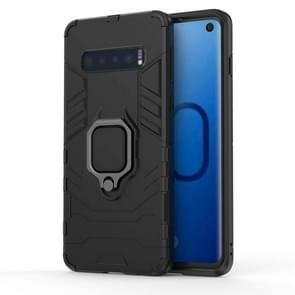 PC + TPU Shockproof Protective Case for Samsung Galaxy S10, with Magnetic Ring Holder(Black)