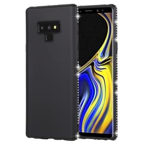 Crystal Decor kanten glad oppervlak zacht TPU terug beschermhoes voor Galaxy Note9(Black)