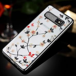 SULADA Ultra-thin PC Electroplating + 3D Laser Engraving + Diamond Case for Galaxy S10+ (Black)