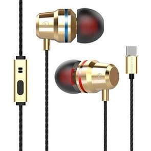 G82 1.2m Wired In Ear USB-C / Type-C Interface Metal HiFi Earphones with Mic (Gold)