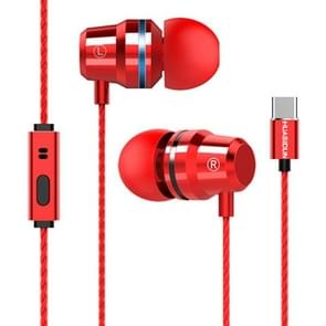 G82 1.2m Wired In Ear USB-C / Type-C Interface Metal HiFi Earphones with Mic (Red)