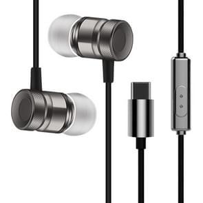 YX-022 1 2 m Wired in ear USB-C/type-C interface Metal stereo oortelefoon met Mic (grijs)