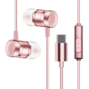 YX-022 1 2 m bedraad in ear USB-C/type-C-interface metalen stereo koptelefoon met Mic (rosé goud)