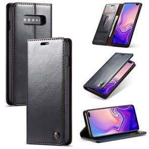 CaseMe-003 PU + PC Business Style Crazy Horse textuur horizontaal flip lederen Case voor Galaxy S10  met houder & kaartsleuven & portemonnee (zwart)