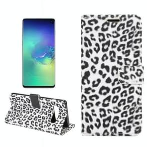 Leopard Texture PU + TPU Horizontal Flip Leather Case for Galaxy S10 E, with Holder & Card Slots & Wallet (White)