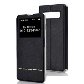 Horizontal Flip Leather Case for Galaxy S10+, with Holder & Call Display ID (Black)