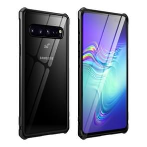 Buckle Series Metal Frame + Tempered Glass Protective Case for Galaxy S10 5G(Black)