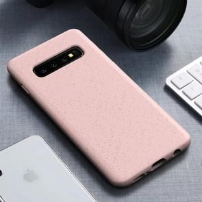 Starry Series Shockproof  Straw Material + TPU Protective Case for Galaxy S10+ (Pink)