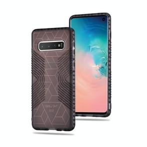 Anti-slip Frosted Transparent Full Coverage Case for Galaxy S10+ (Black)