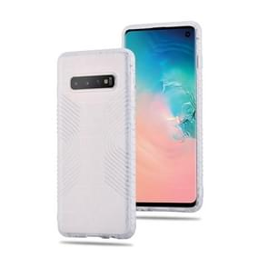 Anti-slip Frosted Transparent Full Coverage Case for Galaxy S10+ (White)