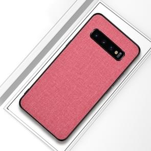 Shockproof Cloth Texture PC+ TPU Protective Case for Galaxy S10+ (Pink)