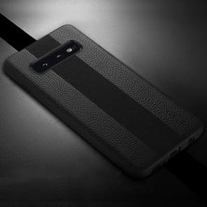 SULADA Anti-slip TPU + Handmade Leather Case for Galaxy S10e(Black)