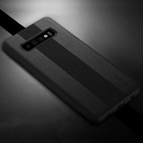 SULADA Anti-slip TPU + Handmade Leather Case for Galaxy S10+ (Black)