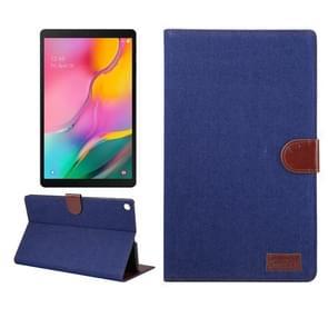 Denim textuur PC horizontale Flip lederen beschermende case voor Galaxy tab A 10 1 2019 T510/T515  met houder & kaartsleuven & portemonnee & fotolijstjes (donkerblauw)