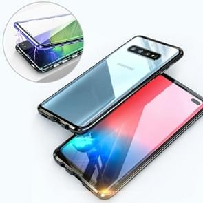 UltUltra Slim Double Sides Magnetic Adsorption Angular Frame Tempered Glass Magnet Flip Case for Galaxy S10+ (Black)