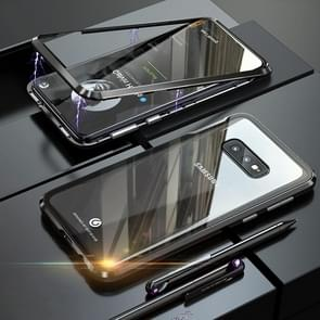 UltUltra Slim Double Sides Magnetic Adsorption Angular Frame Tempered Glass Magnet Flip Case for Galaxy S10e (Black)