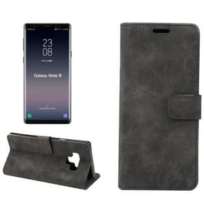 Sheep Bar Material Horizontal Flip PU Leather Case for Galaxy Note 9, with Holder & Card Slot & Wallet & Photo Frame(Black)