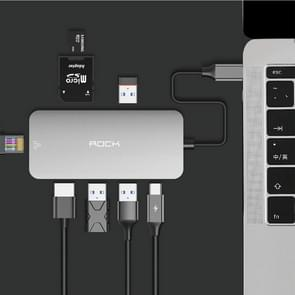 ROCK 8 in 1 USB Hub Type-C to 4K HDMI + RJ45 + USB*3 + SD&TF Card Reader + PD Multifunctional Adapter Converter, For Galaxy S9 & S9 + & S8 & S8 + & Note 8 / HTC 10 / Huawei Mate 10 & Mate 10 Pro & P20 & P20 Pro / MacBook 12 inch / MacBook Pro
