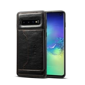 Dibase TPU + PC + PU Crazy Horse Texture Protective Case for Galaxy S10, with Holder & Card Slots (Black)