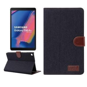 Denim textuur PC horizontale Flip lederen beschermende case voor Galaxy tab A 8 (2019) P200/P205  met houder & kaartsleuven & portemonnee & fotolijstjes (zwart)