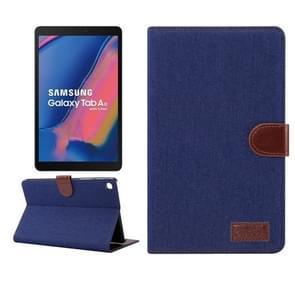 Denim textuur PC horizontale Flip lederen beschermende case voor Galaxy tab A 8 (2019) P200/P205, met houder & kaartsleuven & portemonnee & fotolijstjes (donkerblauw)